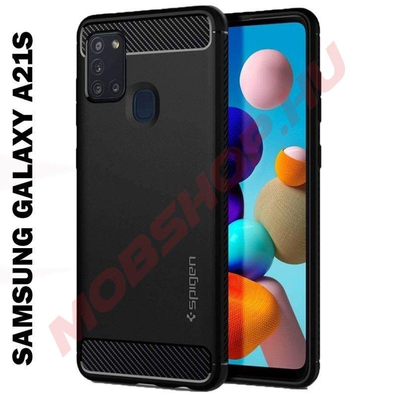 Samsung Galaxy A21S SPIGEN szilikon telefontok, FEKETE - mobshop.hu