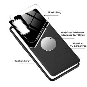 Samsung Galaxy A02S bőrbevonatú hibrid tok, mágneses tartókhoz előkészítve, fekete - mobshop.hu