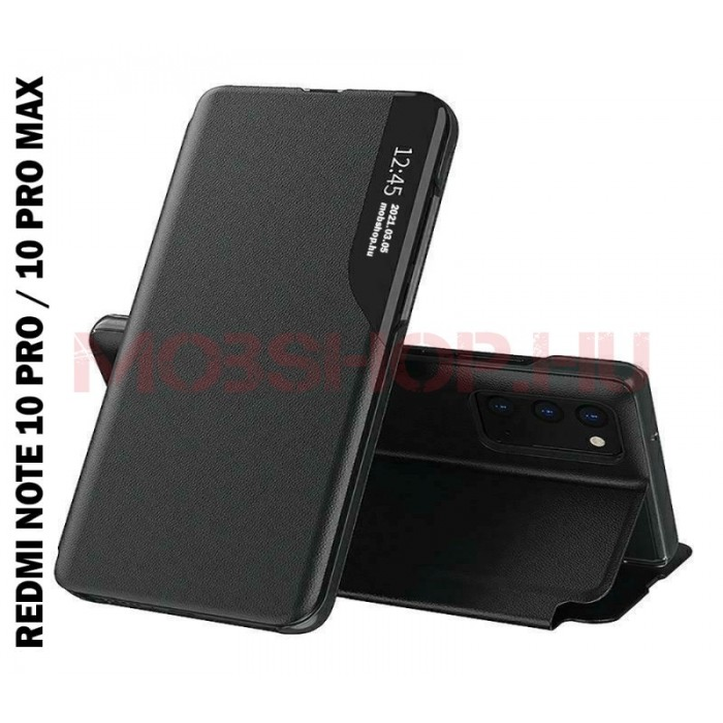 Xiaomi Redmi NOTE 10 PRO / NOTE 10 PRO MAX TECH-PROTECT Smart View flip tok, fekete - mobshop.hu