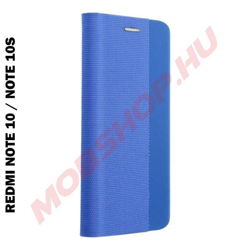 Xiaomi Redmi NOTE 10 / NOTE 10S oldalra nyíló shelter flip tok, kék - mobshop.hu