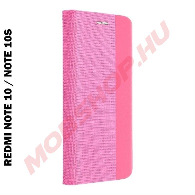 Xiaomi Redmi NOTE 10 / NOTE 10S oldalra nyíló shelter flip tok, pink - mobshop.hu