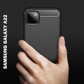 Samsung Galaxy A22 5G karbon (carbon) mintás szilikon tok, fekete - mobshop.hu