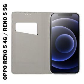 OPPO RENO 5 4G / RENO 5 5G oldalra nyíló flip telefontok, fekete - mobshop.hu