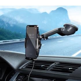 Automata vezeték nélküli autós töltő és tartó, szélvédőre vagy szellőzőnyílásra helyezhető 15W, fekete - mobshop.hu