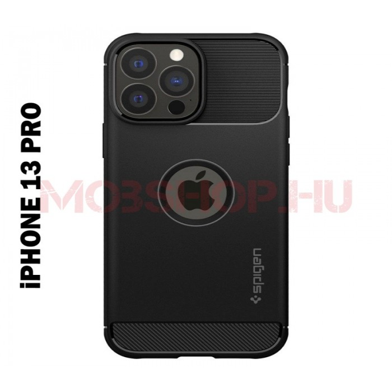 iPhone 13 PRO SPIGEN RUGGED ARMOR szilikon telefontok, FEKETE - mobshop.hu