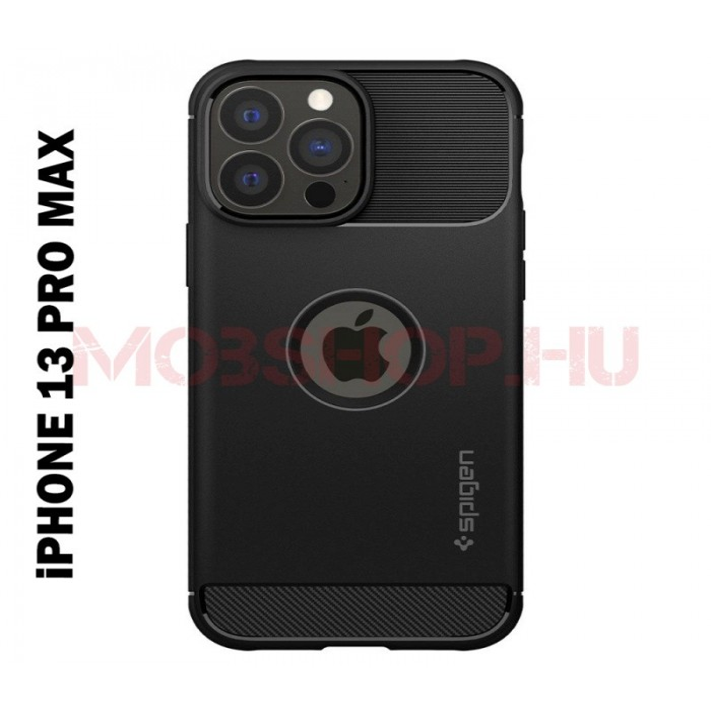 iPhone 13 PRO MAX SPIGEN RUGGED ARMOR szilikon telefontok, FEKETE - mobshop.hu