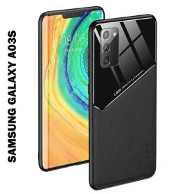 Samsung Galaxy A03S bőrbevonatú hibrid tok, mágneses tartókhoz előkészítve, fekete - mobshop.hu