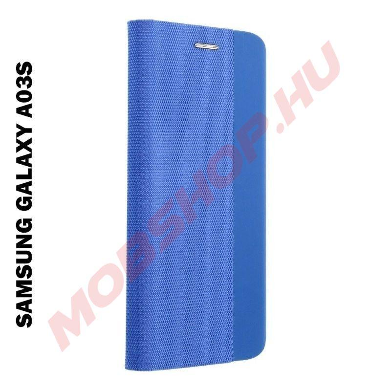 Samsung Galaxy A03S oldalra nyíló shelter flip tok, kék - mobshop.hu