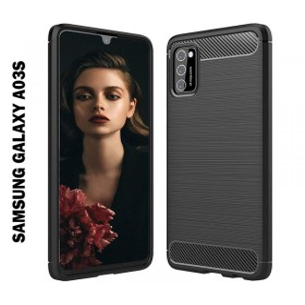 Samsung Galaxy A03S karbon (carbon) mintás szilikon tok, fekete - mobshop.hu